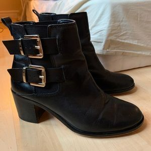 Sam Edelman Black Heeled Booties with Gold Buckles
